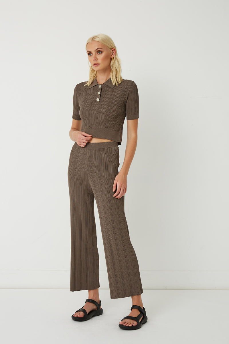 Maxine Ribbed Stretch-Knit Pants