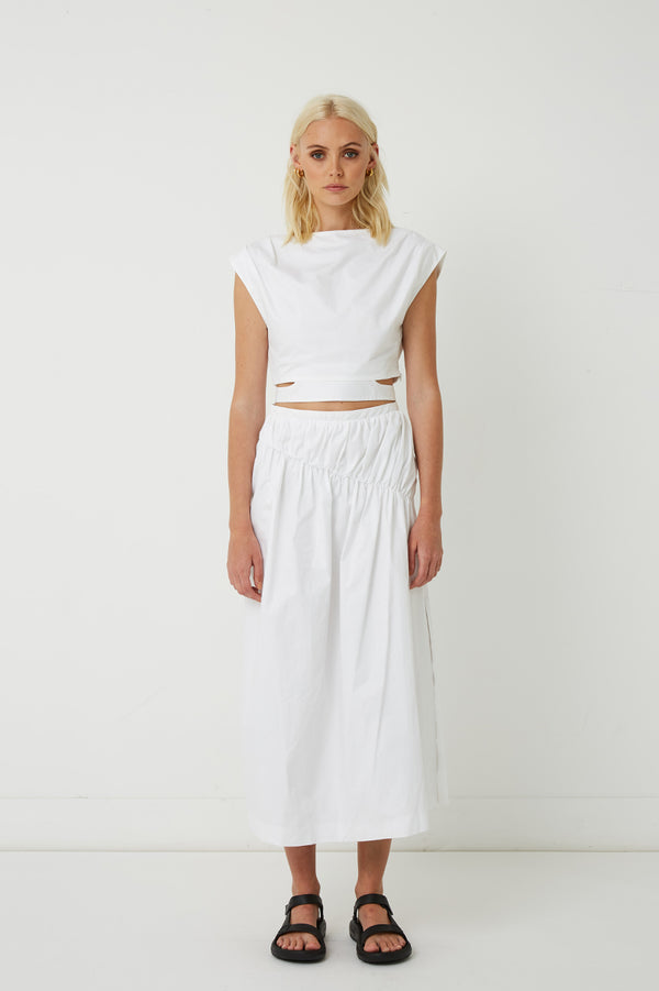 Riley Gathered Midi Skirt