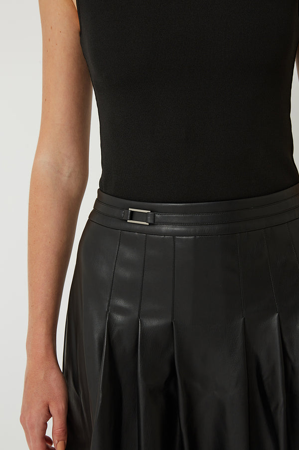 Alex Pleated Vegan Leather Midi Skirt
