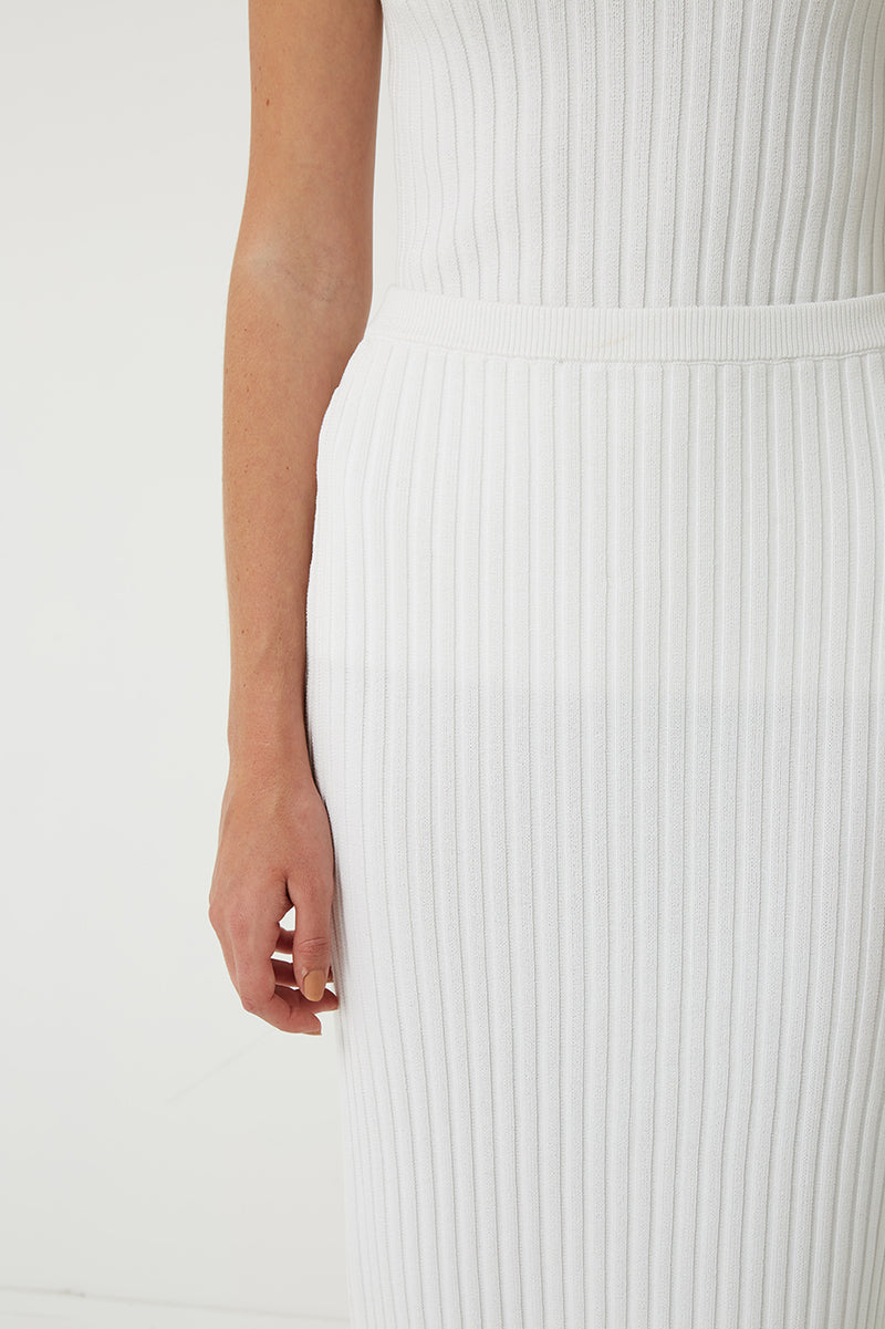 Bette Longline Ribbed Knit Midi Skirt