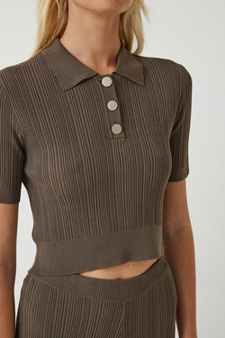 Maxine Ribbed Stretch-Knit Polo Top