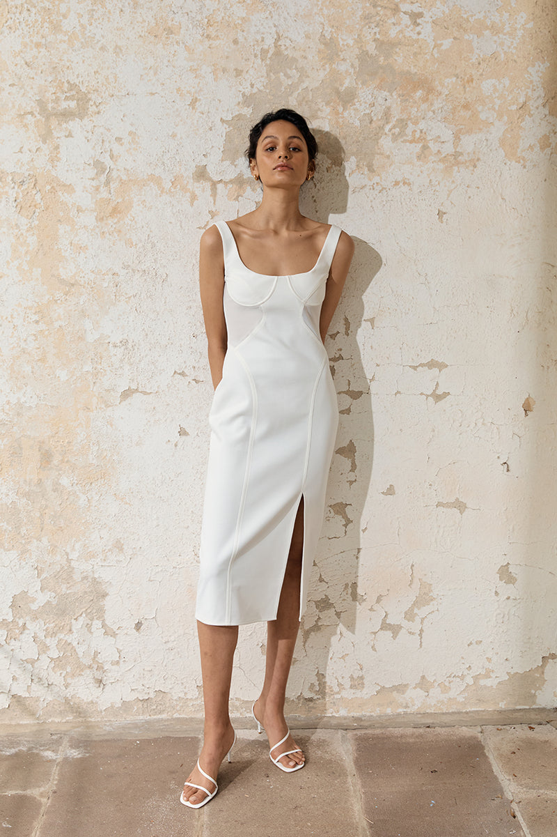 Allure Sheer Panel Midi Dress
