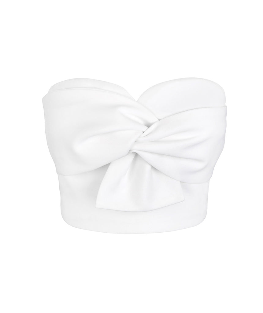 Twist Bow White Bustier Top