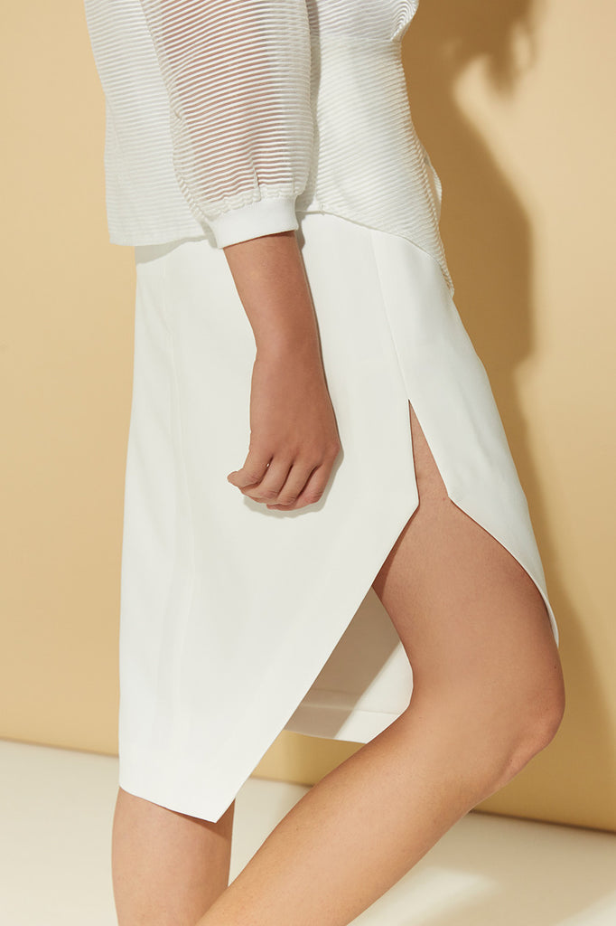 White Asymmetry A-line Skirt