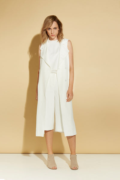 WHITE MODERN SLEEVELESS TRENCH