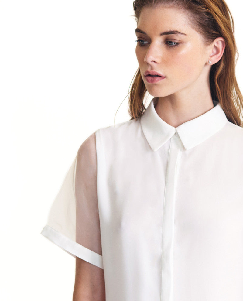White Sheer Sleeve Shirt