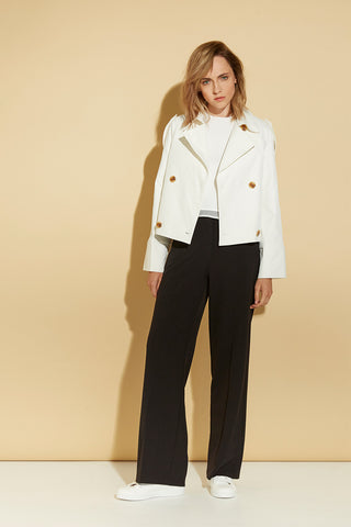 Cropped White Trench Coat