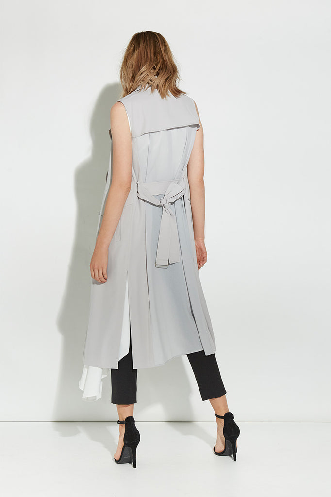 GREY MODERN SLEEVELESS TRENCH