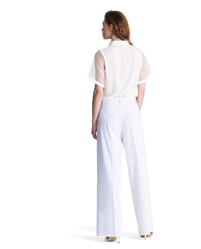 Wide Leg White D-ring Pants