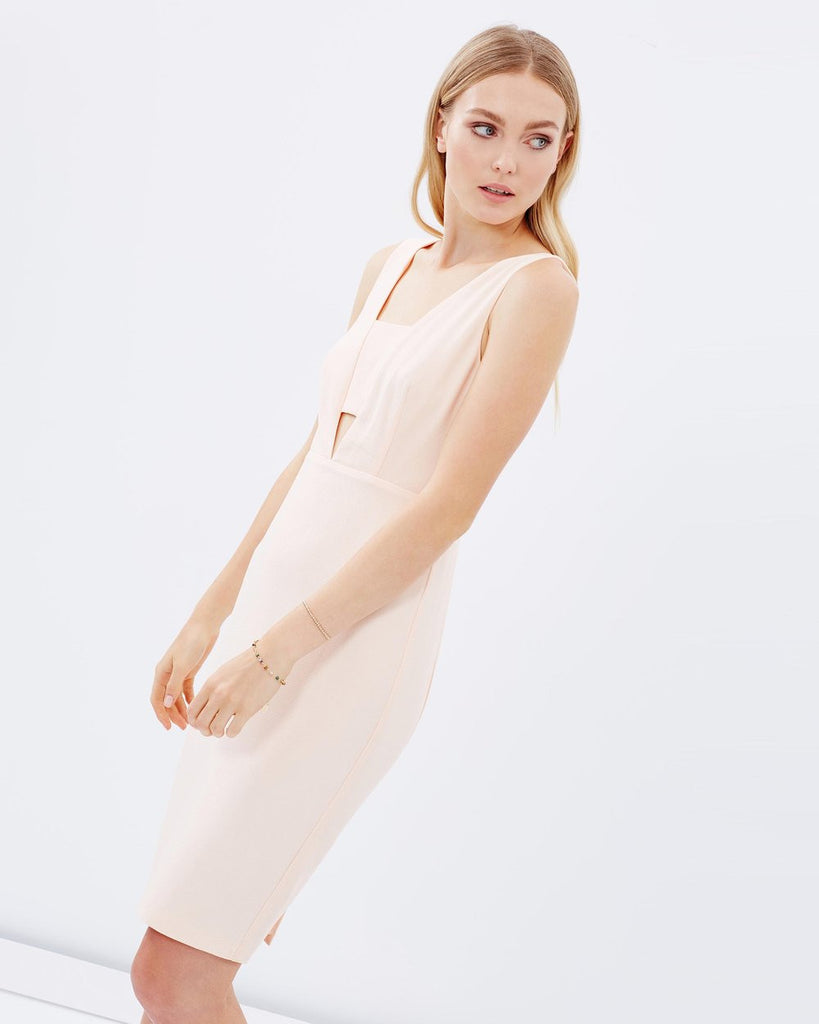 Nude Bandeau Midi Dress