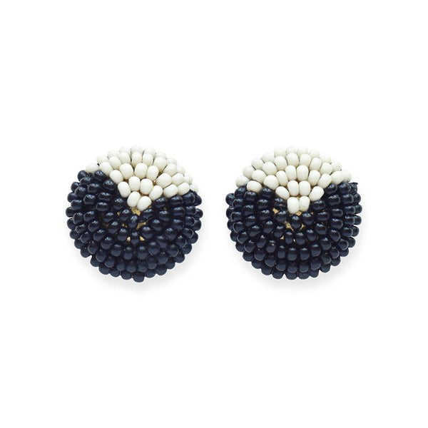 Ink + Alloy Black And White Button Post Beaded Earring