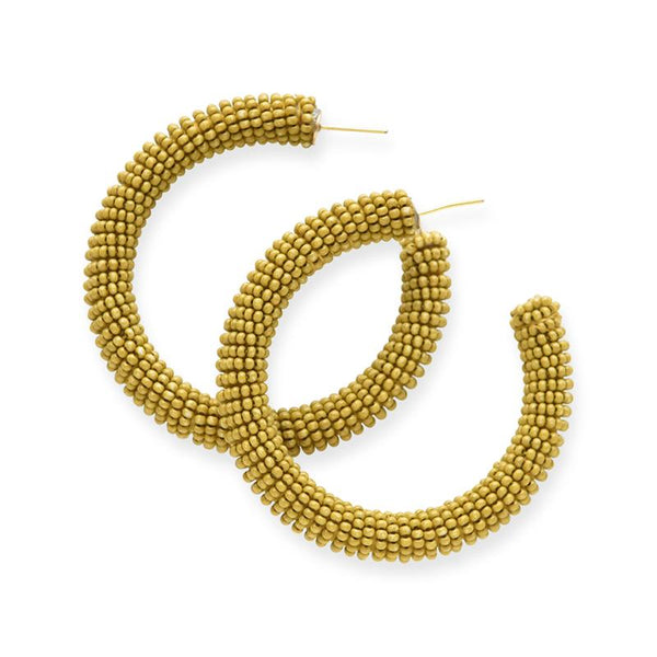 Ink + Alloy Citron Seed Bead Hoop Earring