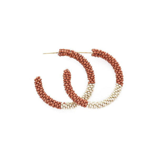 Ink + Alloy Rust With Ivory Small Hoop Seed Bead Earring