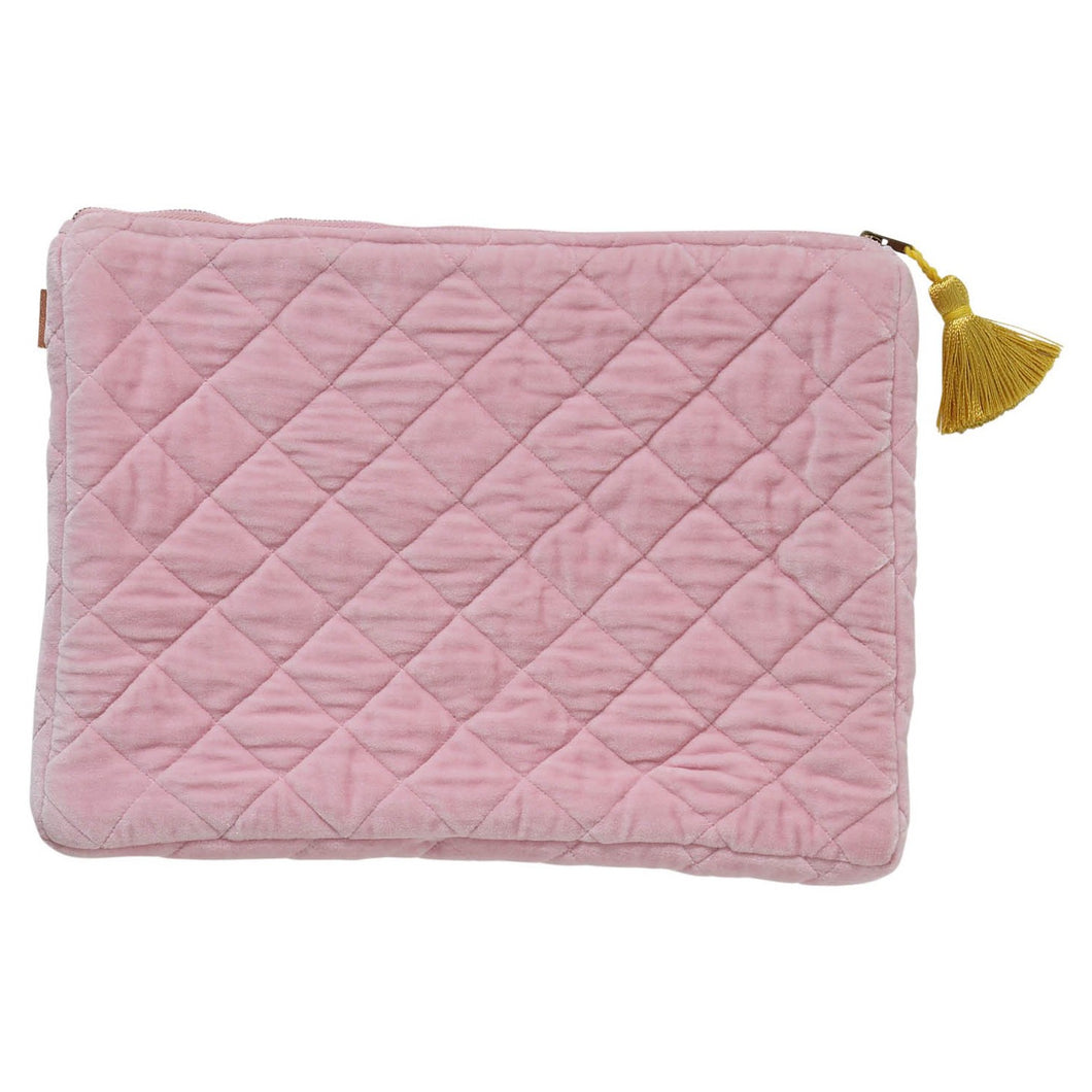 KIP & CO - VELVET LAPTOP CARRY ALL - GUAVA PINK
