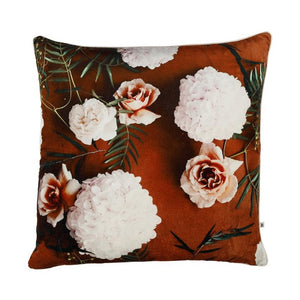 BONNIE & NEIL - AUTUMN ROSE RUST VELVET CUSHION - 50CM