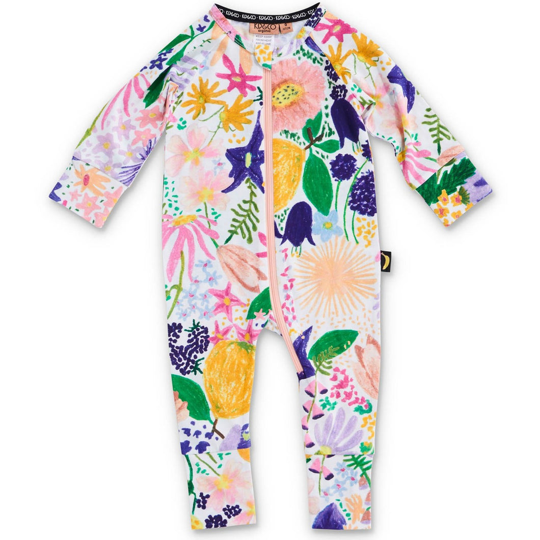 KIP & CO - MEADOW COLOURFUL ORGANIC LS ZIP ROMPER