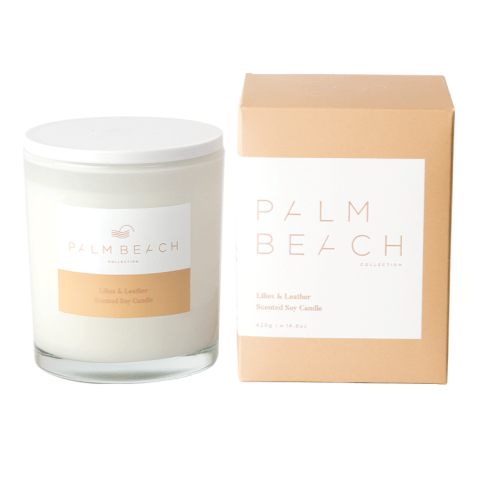 PALM BEACH COLLECTION LILIES & LEATHER STANDARD CANDLE