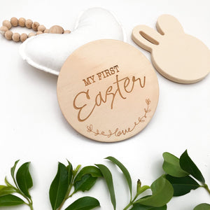 ONE CHEW THREE - BABY TIMBER MILESTONE PLAQUE - MY FIRST EASTER
