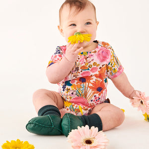 KIP & CO - SHORT SLEEVE ROMPER- PINKY FIELD OF DREAMS