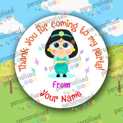 Personalised Birthday Party Stickers Girls Thank You For Coming Labels Princess - Matte