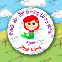 Personalised Birthday Party Stickers Girls Thank You For Coming Labels Princess - Glossy