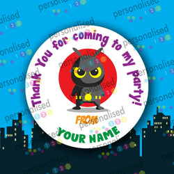 Personalised Birthday Party Stickers Superheroes Boys Thank You For Coming Label