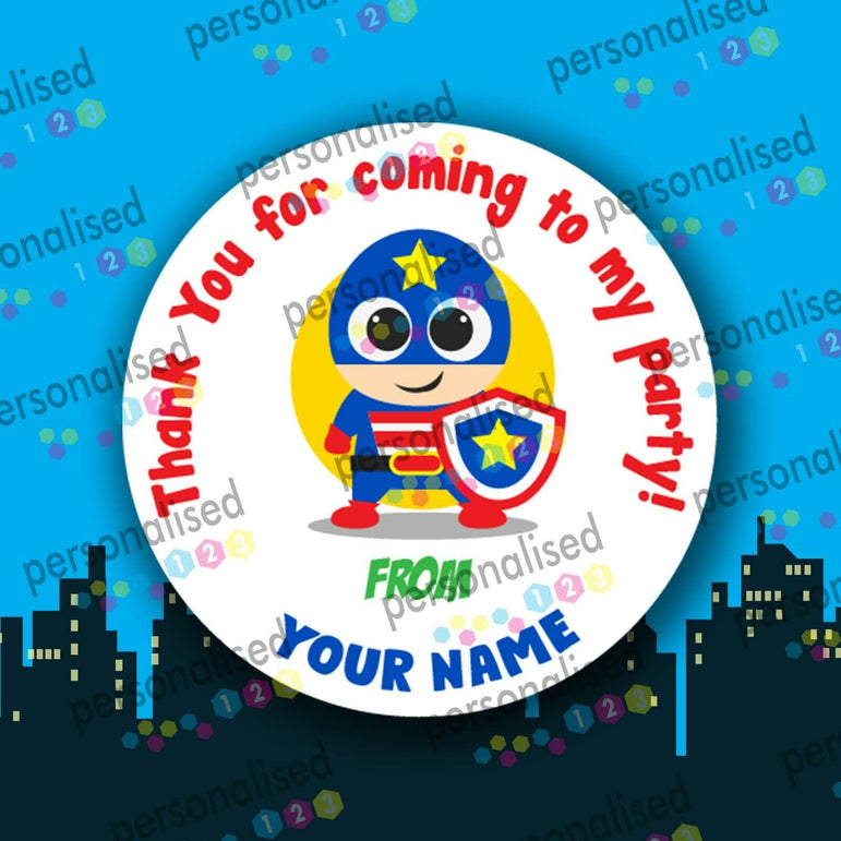 Personalised Birthday Party Stickers Superheroes Princess Thank You For Coming