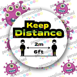 Covid Stickers Isolation Quarantine Sign Wash Hands Stay At Home Keep Distance - Glossy