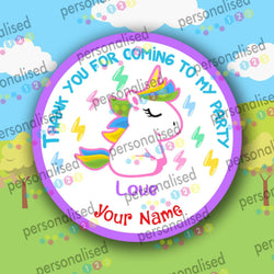 Personalised Birthday Party Stickers Unicorn Girls Thank You For Coming Labels