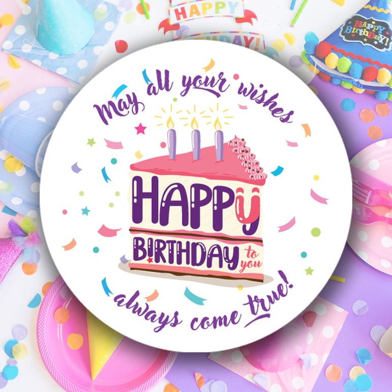 Personalised Birthday Stickers Happy Birthday Round Labels Address Printed