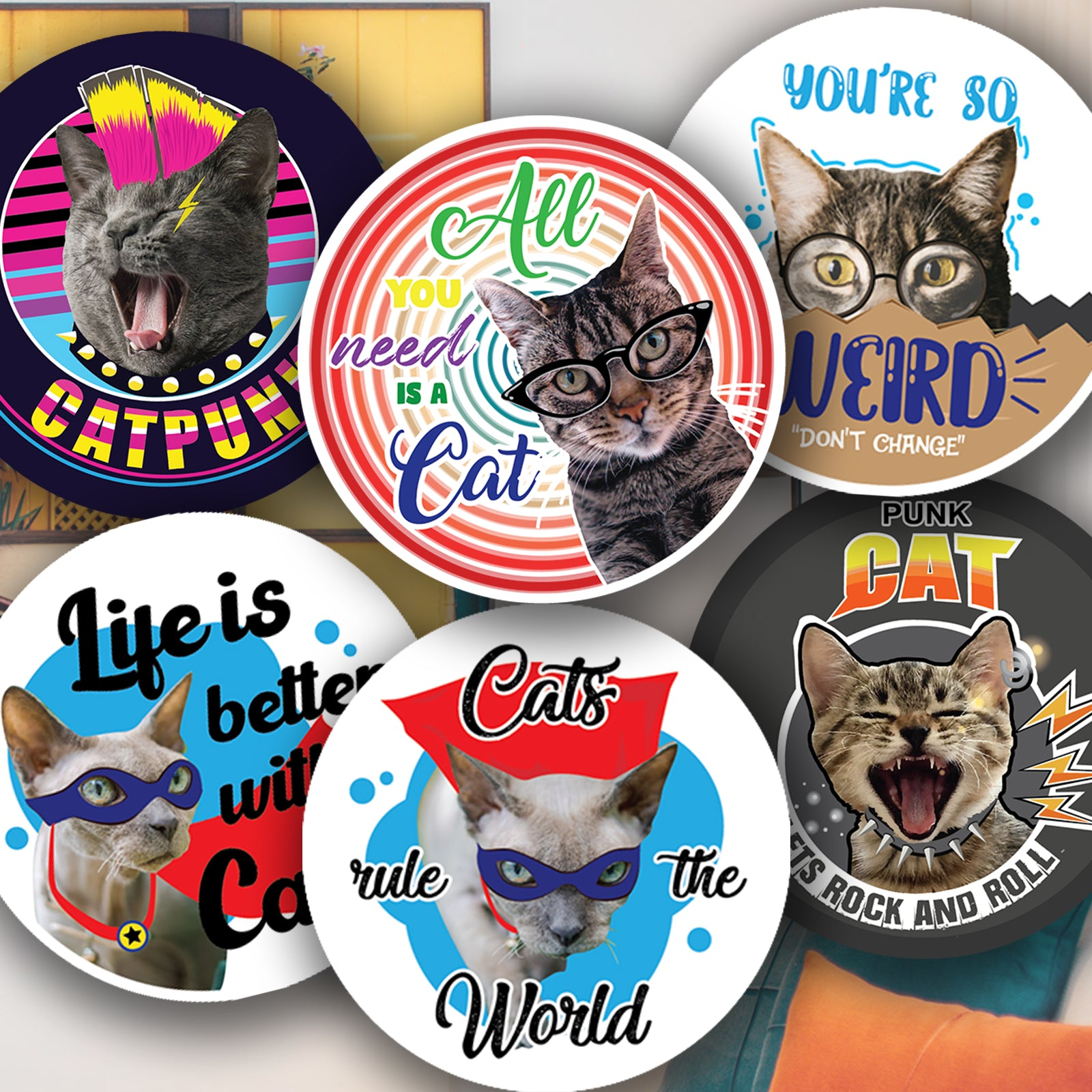Personalised Reward Stickers For Cat Lovers Round Labels Address Printed
