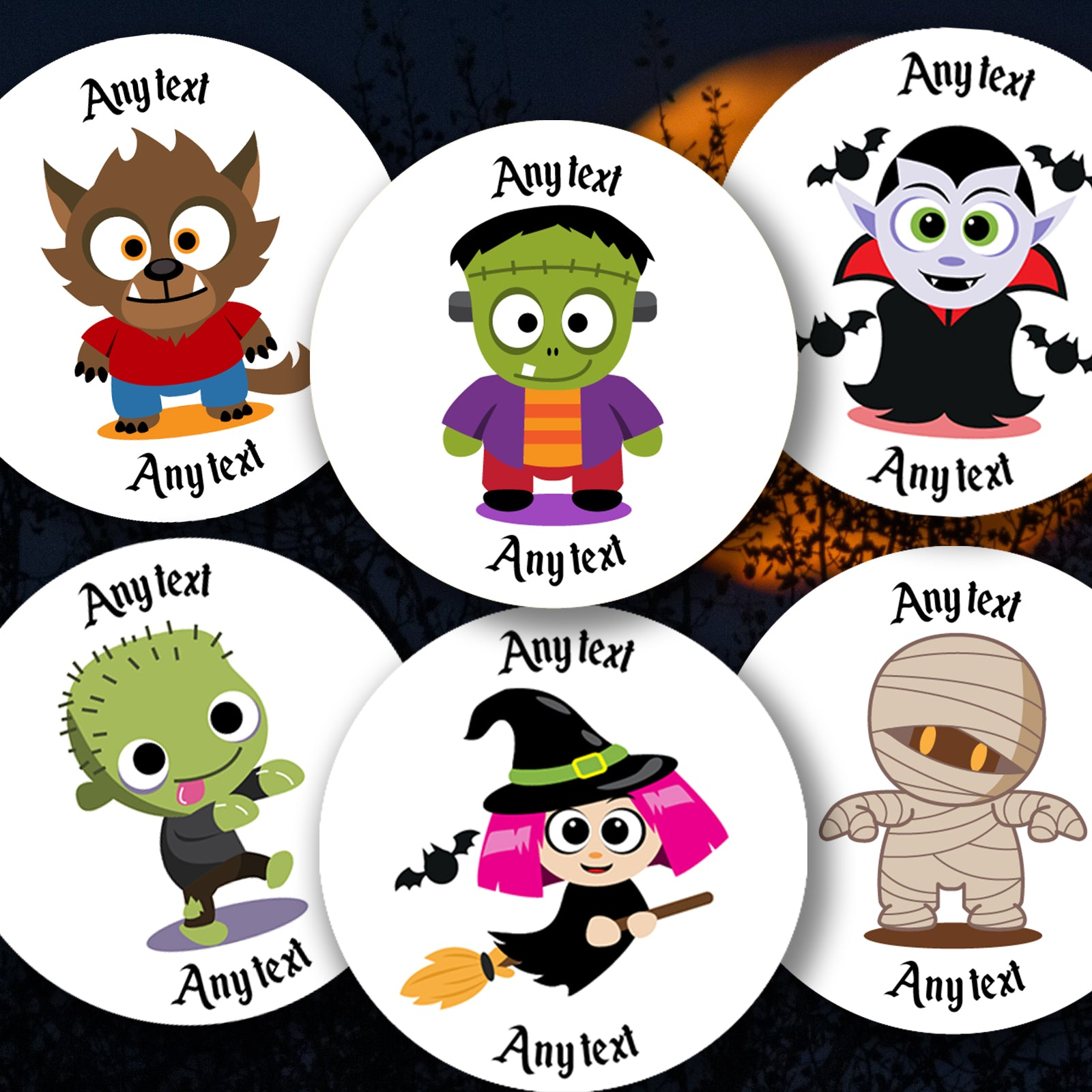 ANY TEXT Personalised Halloween Stickers Children Stickers Round Address Labels