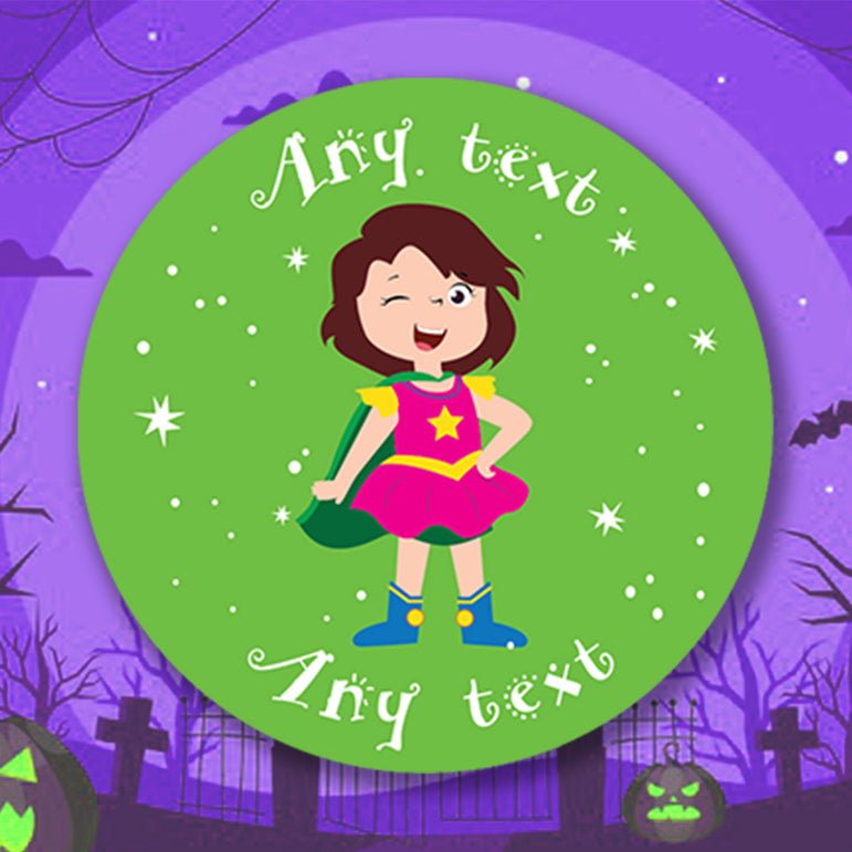 ANY TEXT Personalised Halloween Stickers Happy Halloween Decor Stickers Round Labels Personalise Custom Treat Bags