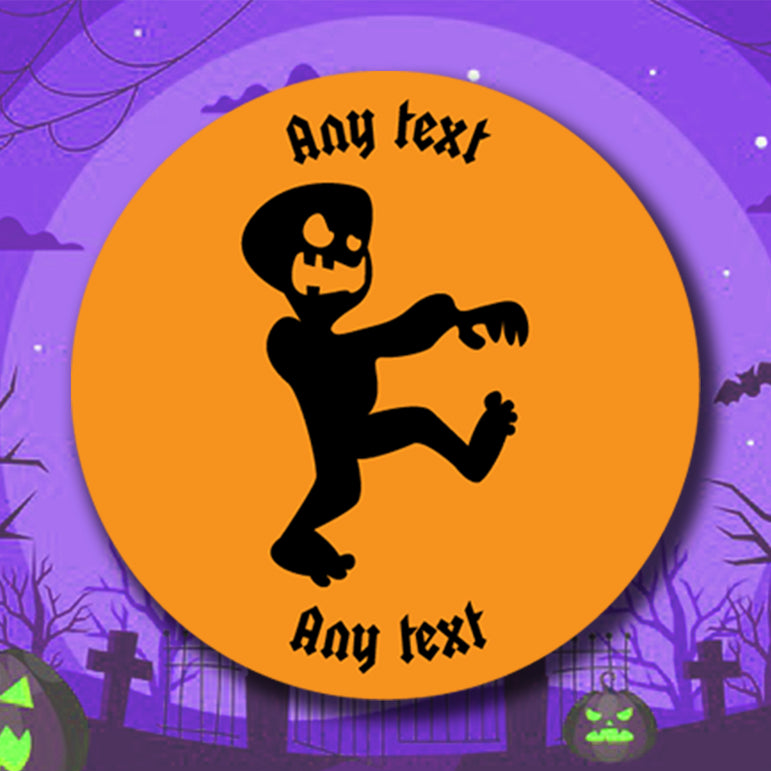 Personalised Halloween Stickers Pumpkin Bat Witch Ghost Zombie Stickers Round Labels
