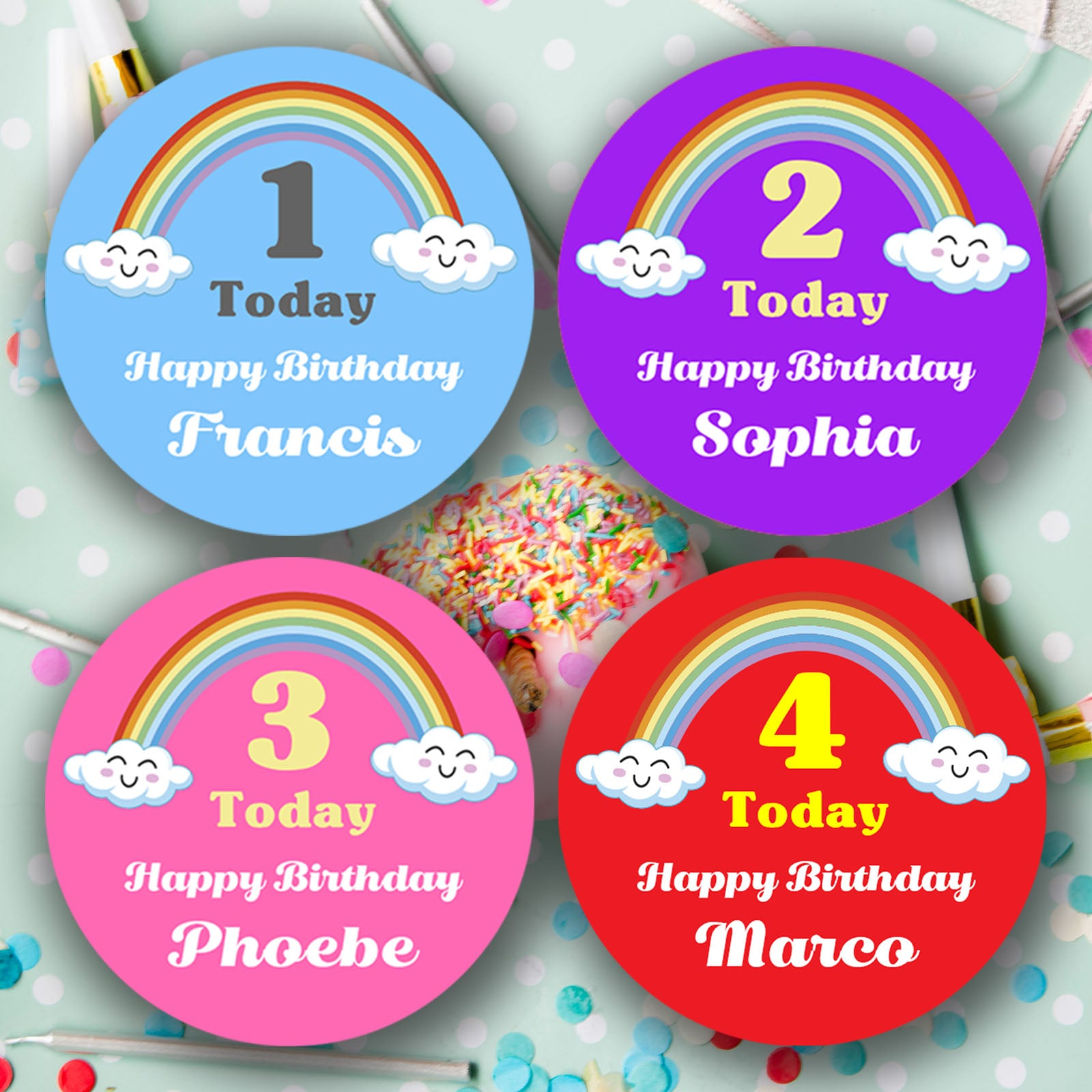 Personalised Rainbow Happy Birthday Stickers Various colors   Party Bags - Glossy Finish