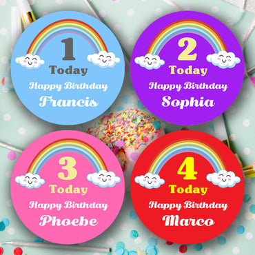 Personalised Rainbow Happy Birthday Stickers Various colors   Party Bags - Matte Finish