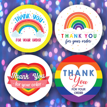 100 x RAINBOW Stickers Professional Business Labels - Thank You For Your Order - Glossy Finish