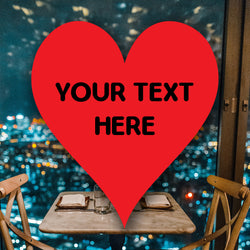 ANY TEXT Personalised Heart Shape Stickers Red Coloured Thank You Labels