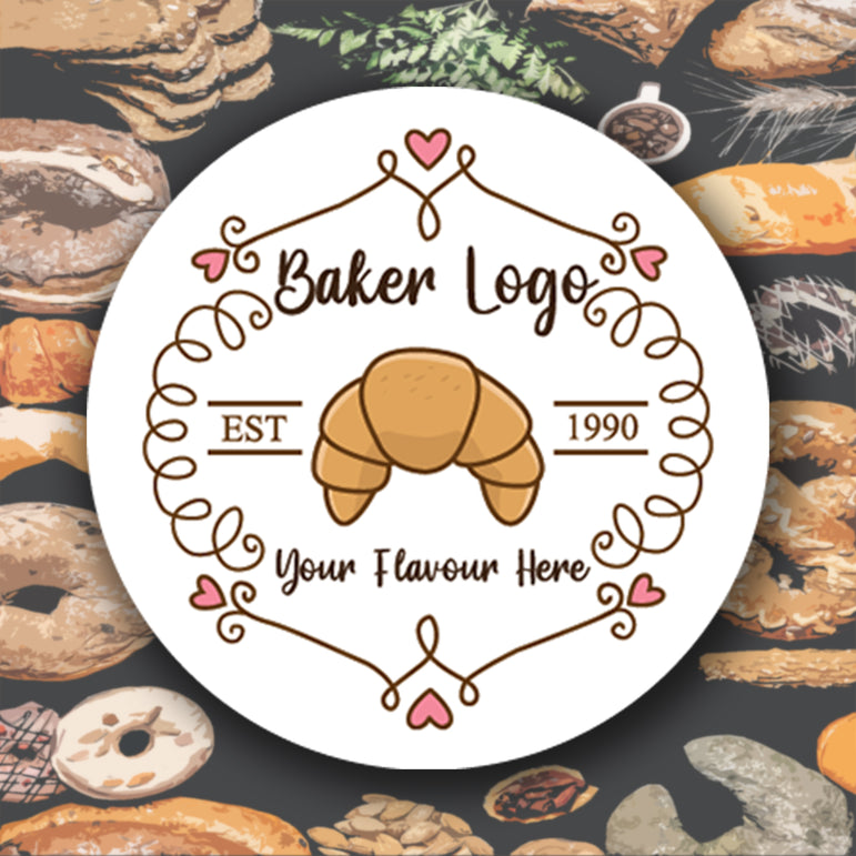 Round personalised business stickers for Bakers. Address labels, packing labels or your company LOGO!