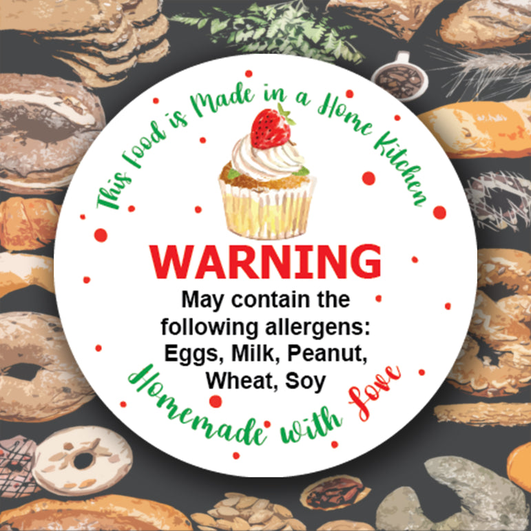 Round personalised business stickers for Bakers Allergen Labels Warning Message, packing labels or your company LOGO!