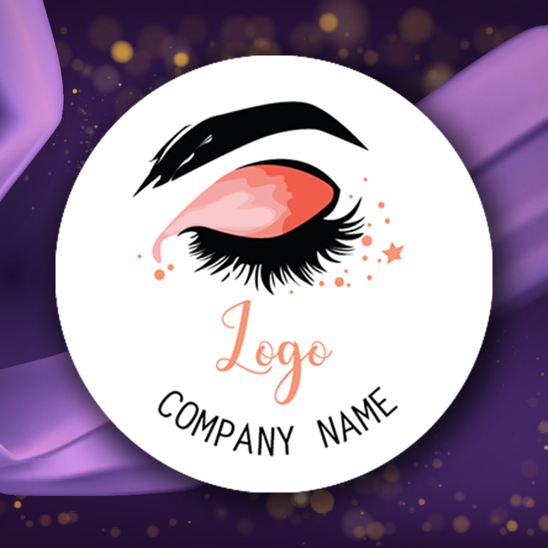 Personalised Logo Stickers Custom Business Labels Eyelash Round Printed Address