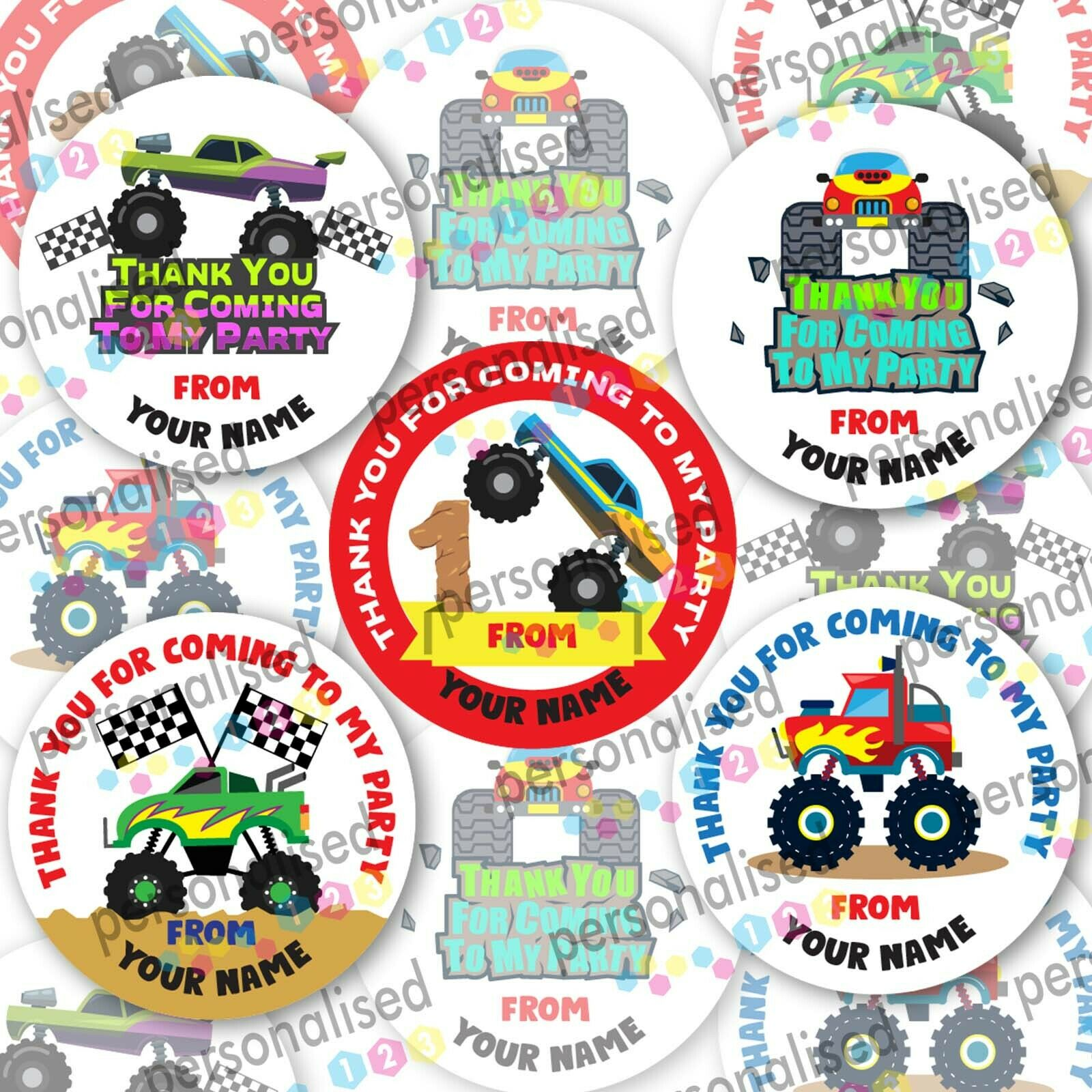 Personalised Birthday Stickers For Boys Cars Party Bag Labels Thank You Coming - Glossy