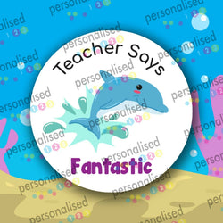 Personalised Teacher Stickers Children Reward Labels Ocean Sea Life Animal - Glossy