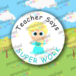 Personalised Reward Stickers Well Done Labels Princess Superheroes Teacher - Glossy
