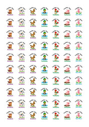 Personalised Stickers Teacher Reward Labels Farm Animals School Well Done - Glossy