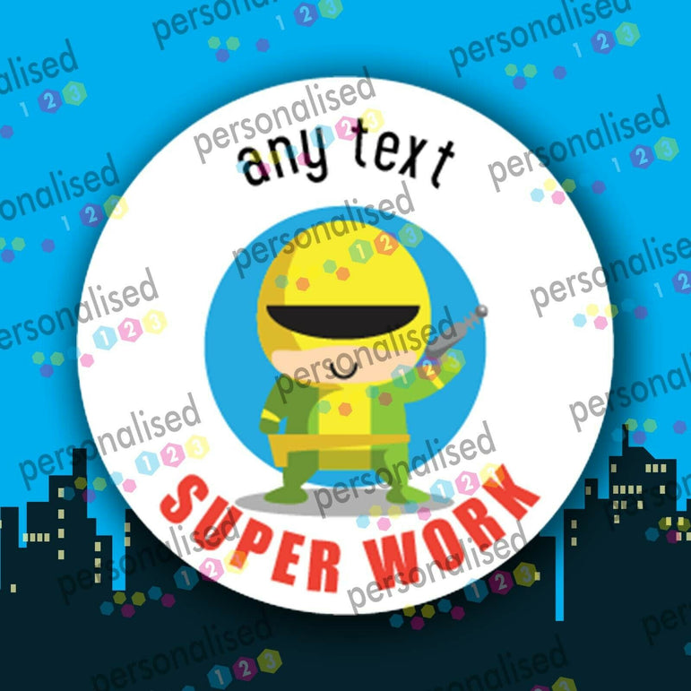 Personalised Reward Stickers Superheroes Teacher Well Done Label School Children - Matte