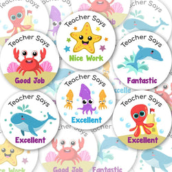 Personalised Teacher Stickers Children Reward Labels Ocean Sea Life Animal - Matte