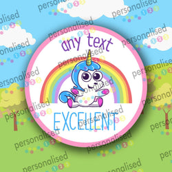Personalised Reward Stickers Unicorn Girls Well Done Labels Gloss School Teacher - Matte