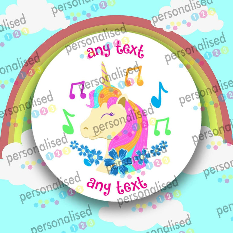 Personalised Unicorn Stickers ANY TEXT Round Labels Thank You Party Bag - Glossy
