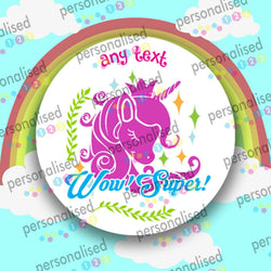Personalised Reward Stickers For Girls Unicorns Well Done Labels School Teacher - Matt